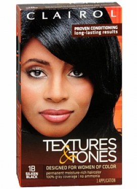 Clairol Textures & Tones Permanent Hair Color, 1B Silken Black