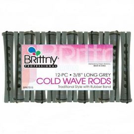 Brittny Cold Wave Rods Hair Rollers – 12pcs 3/8″ Long Grey
