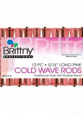 Brittny Cold Wave Rods Hair Rollers 12pcs 5/16″ Long Pink