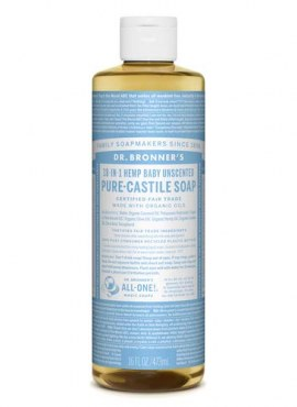 Dr. Bronners Hemp Baby Unscented Soap 16oz