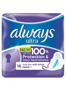 Always Ultra Pads 16 Long Plus with Wings